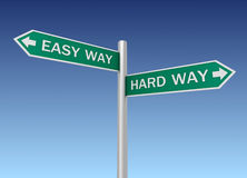 Easy hard way road sign 3d illustration Stock Images