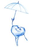 Easy Heart flying on an Umbrella in Sky Stock Images