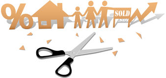 Easy Home Buying Family House Cutout. Scissors cut out paper doll family buying home real-estate investment royalty free illustration