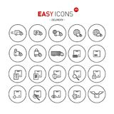 Easy icons 37b Delivery. Vector thin line flat design icons set for delivery theme Royalty Free Illustration
