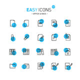Easy icons 13b Docs. Vector thin line flat design icons set for office and document themes vector illustration