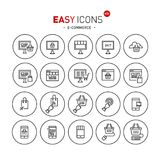 Easy icons 40b E-commerce. Vector thin line flat design icons set for e-commerce theme stock illustration