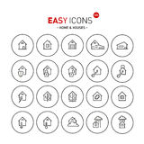 Easy icons 02b Home. Vector thin line flat design icons set for home and connected themes royalty free illustration