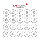 Easy icons 03b Home. Vector thin line flat design icons set for home, mail, delivery and other themes royalty free illustration
