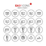 Easy icons 12b Money. Vector thin line flat design icons set for money and finance themes Royalty Free Stock Images