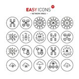 Easy icons 48b Network virus. Vector thin line flat design icons set for computer viruses and nets theme Royalty Free Illustration