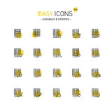 Easy icons 21c Database. Vector thin line flat design icons set for database and server themes Stock Images