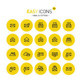 Easy icons 04c Mail. Vector thin line flat design icons set for mail, delivery and security themes Royalty Free Stock Images