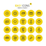 Easy icons 07c Money. Vector thin line flat design icons set for money and finance themes Royalty Free Illustration