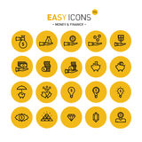 Easy icons 11c Money. Vector thin line flat design icons set for money and finance themes Stock Illustration
