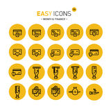Easy icons 12c Money. Vector thin line flat design icons set for money and finance themes Stock Images