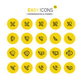 Easy icons 31c Phones. Vector thin line flat design icons set for contact theme Stock Photo