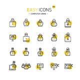 Easy icons 44d Computer crime. Vector thin line flat design icons set for computer crimes, hackers and fraud theme Royalty Free Illustration