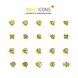 Easy icons 30d Contacts. Vector thin line flat design icons set for contact theme Stock Photo