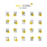 Easy icons 22d Database. Vector thin line flat design icons set for file formats themes Royalty Free Stock Photos