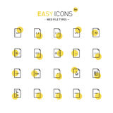 Easy icons 34d File types. Vector thin line flat design icons set for web file types and web programming theme Stock Photo