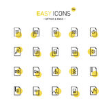 Easy icons 20d Files. Vector thin line flat design icons set for document and file formats themes Royalty Free Stock Photography
