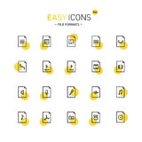 Easy icons 24d Files. Vector thin line flat design icons set for office and media file formats Stock Image
