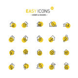 Easy icons 02d Home. Vector thin line flat design icons set for home and connected themes royalty free illustration
