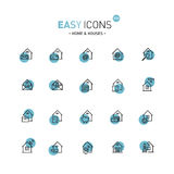 Easy icons 03d Home. Vector thin line flat design icons set for home, mail, delivery and other themes vector illustration