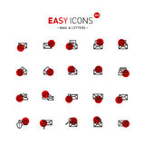 Easy icons 04d Mail. Vector thin line flat design icons set for mail, delivery and security themes Stock Photo