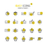 Easy icons 13d Money. Vector thin line flat design icons set for money and finance themes stock illustration