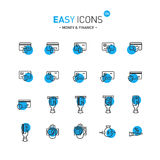 Easy icons 12d Money. Vector thin line flat design icons set for money and finance themes Royalty Free Stock Photos