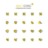Easy icons 31d Phones. Vector thin line flat design icons set for contact theme Royalty Free Stock Image