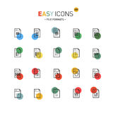 Easy icons 22dd Database. Vector thin line flat design icons set for file formats themes Stock Photo