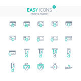 Easy icons 12e Money. Vector thin line flat design icons set for money and finance themes Stock Image