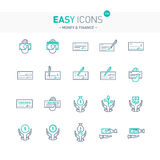 Easy icons 13e Money. Vector thin line flat design icons set for money and finance themes stock illustration