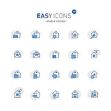 Easy icons 03f Home. Vector thin line flat design icons set for home, mail, delivery and other themes royalty free illustration