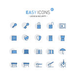 Easy Icons 01f Security. Vector thin line flat design icons set for security and protect theme royalty free illustration
