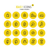 Easy icons 02 Home. Vector thin line flat design icons set for home and connected themes royalty free illustration