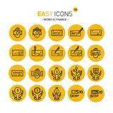 Easy icons 13 Money. Vector thin line flat design icons set for money and finance themes royalty free illustration