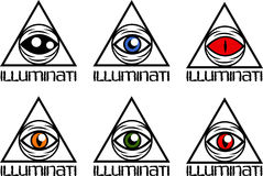 Easy Illumminati set. A set of simple symbols of all seeing eye Stock Photo