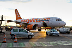 Easy Jet plane stuck on land Royalty Free Stock Photography