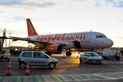 Easy Jet plane stuck on land Stock Photo