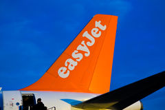 Easy Jet plane tail stuck on land stock images