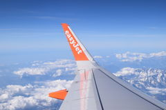 Easy jet plane view from the sky Stock Image