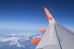 Easy jet plane view from the sky Stock Photo