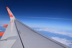 Easy jet plane view from the sky Royalty Free Stock Photos