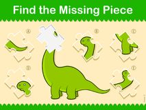 Easy kids Find The Missing Piece Puzzle Dinosaur. Easy kids Find The Missing Piece Puzzle with a cute little green cartoon dinosaur and a choice of five Stock Photos