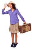 Easy latin american girl travels. Retro. Stock Images
