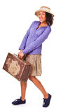 Easy latin american girl travels. Retro. Royalty Free Stock Photo