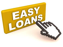 Easy loans. Words on a button, clicked by a mouse hand cursor. concept of easy online loan approval or application Royalty Free Stock Photography