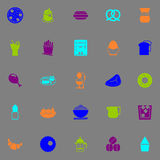 Easy meal icons fluorescent color on gray background Royalty Free Stock Image