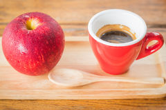 Easy meal with red apple and coffee Stock Photography