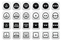 Easy, medium, hard level with stars buttons set. Vector buttons set - star rating, different levels of difficulty isolated on white Stock Photo