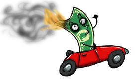 Easy money. Dollar character getting burned while traveling at high speed in a red convertible stroller, symbolizing the bad money Stock Photos